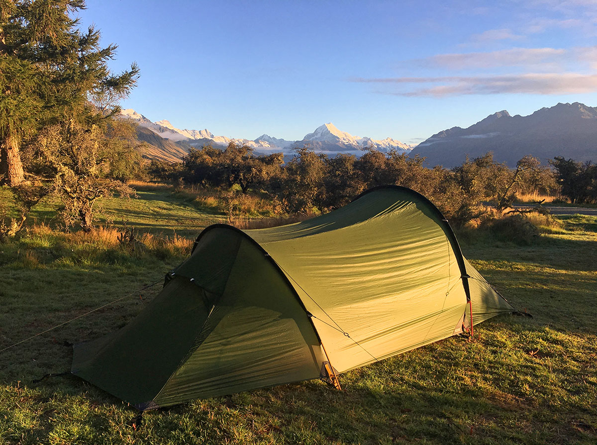 Camping at GlenTanner sunrise on Mt Cook
