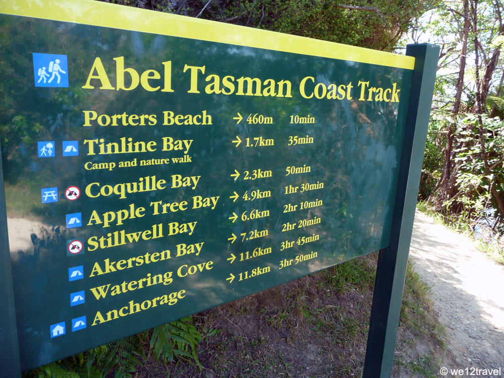 hiking the abel tasman coast track signpost