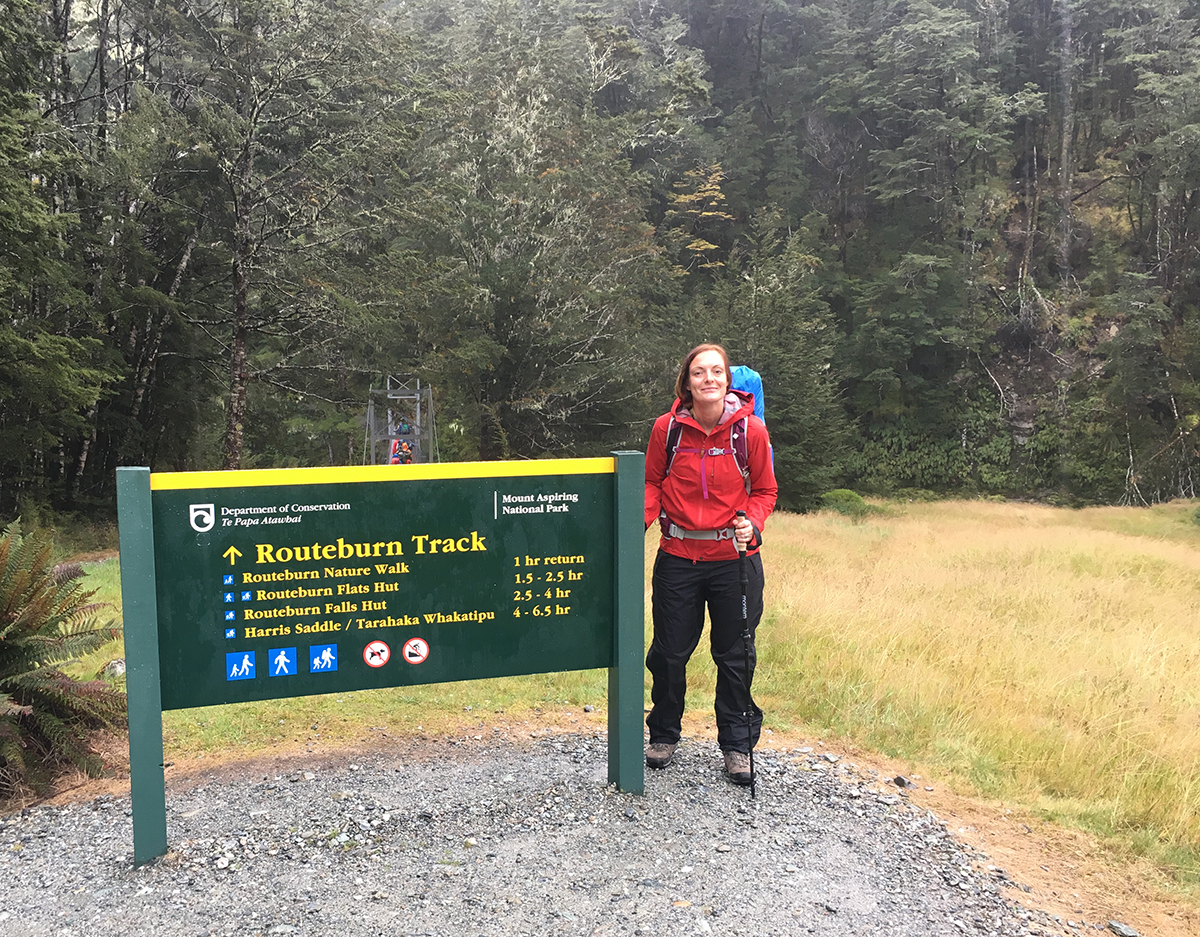 Start of the Roureburn Track at the Routeburn Shelter