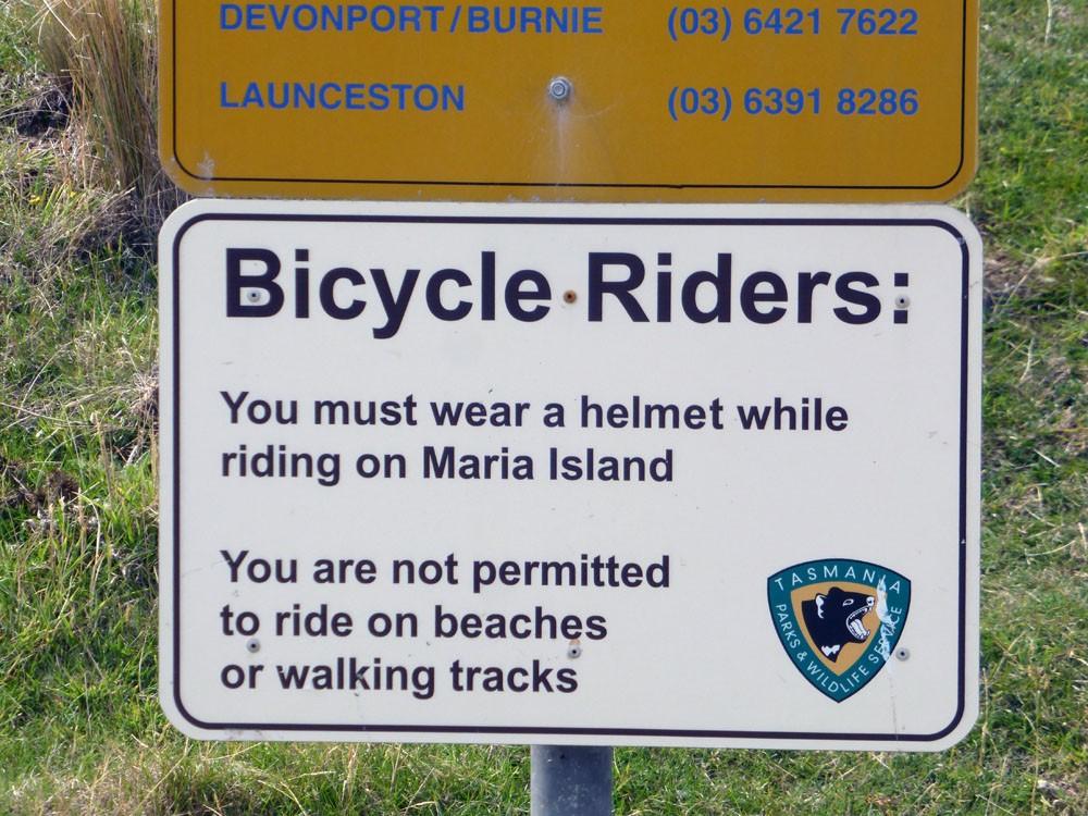biking in tasmania wearing a helmet