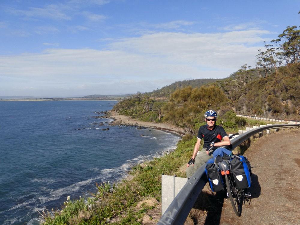martijn biking in tasmania east coast
