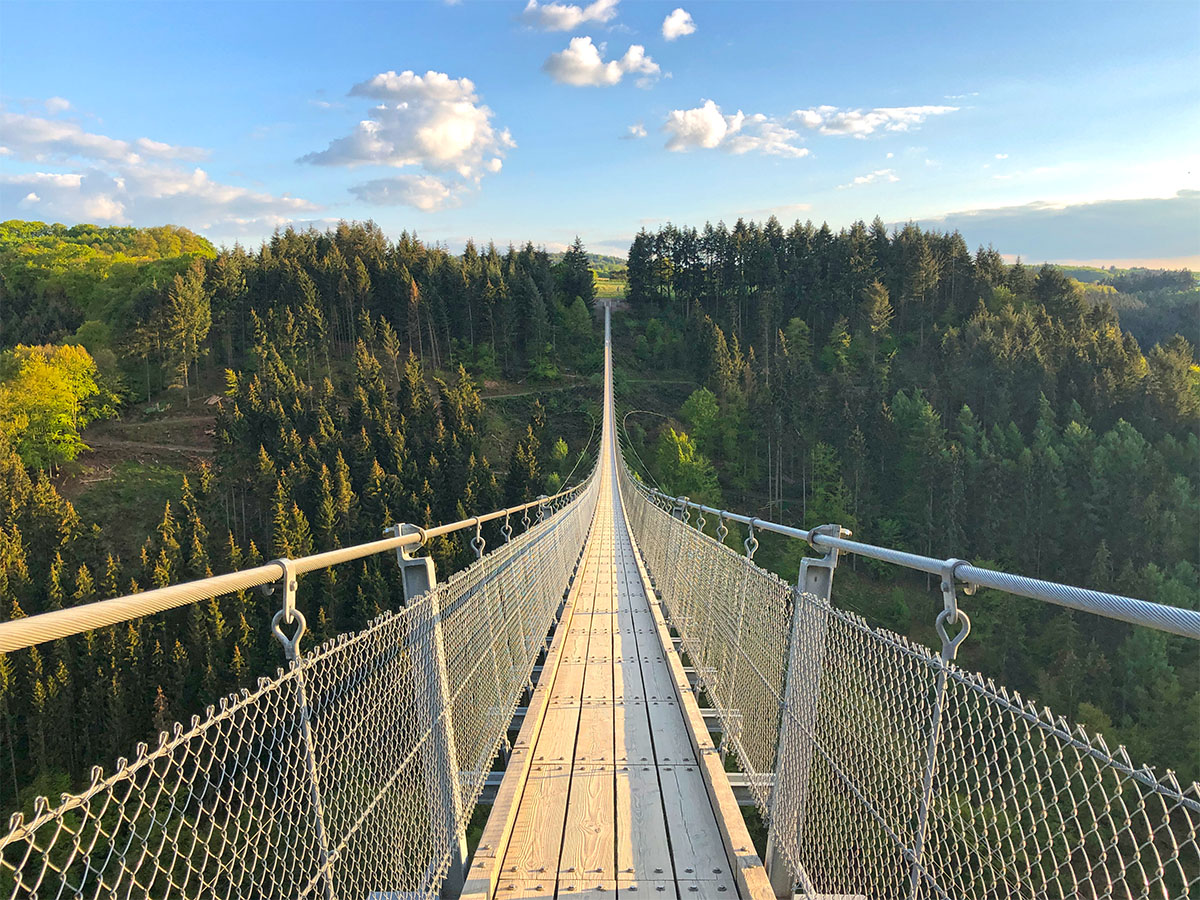 alone on the geierlay swingbridge