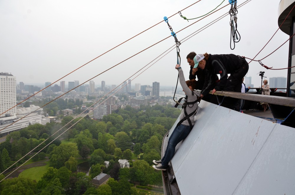 ziplining from the euromast