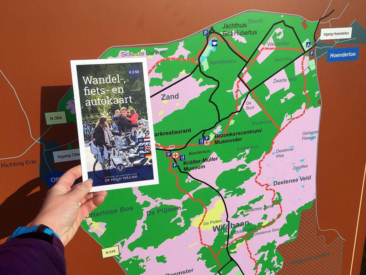 kaart van de hoge veluwe nationaal park
