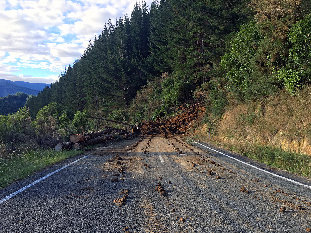 road block near Marahau after massive storms