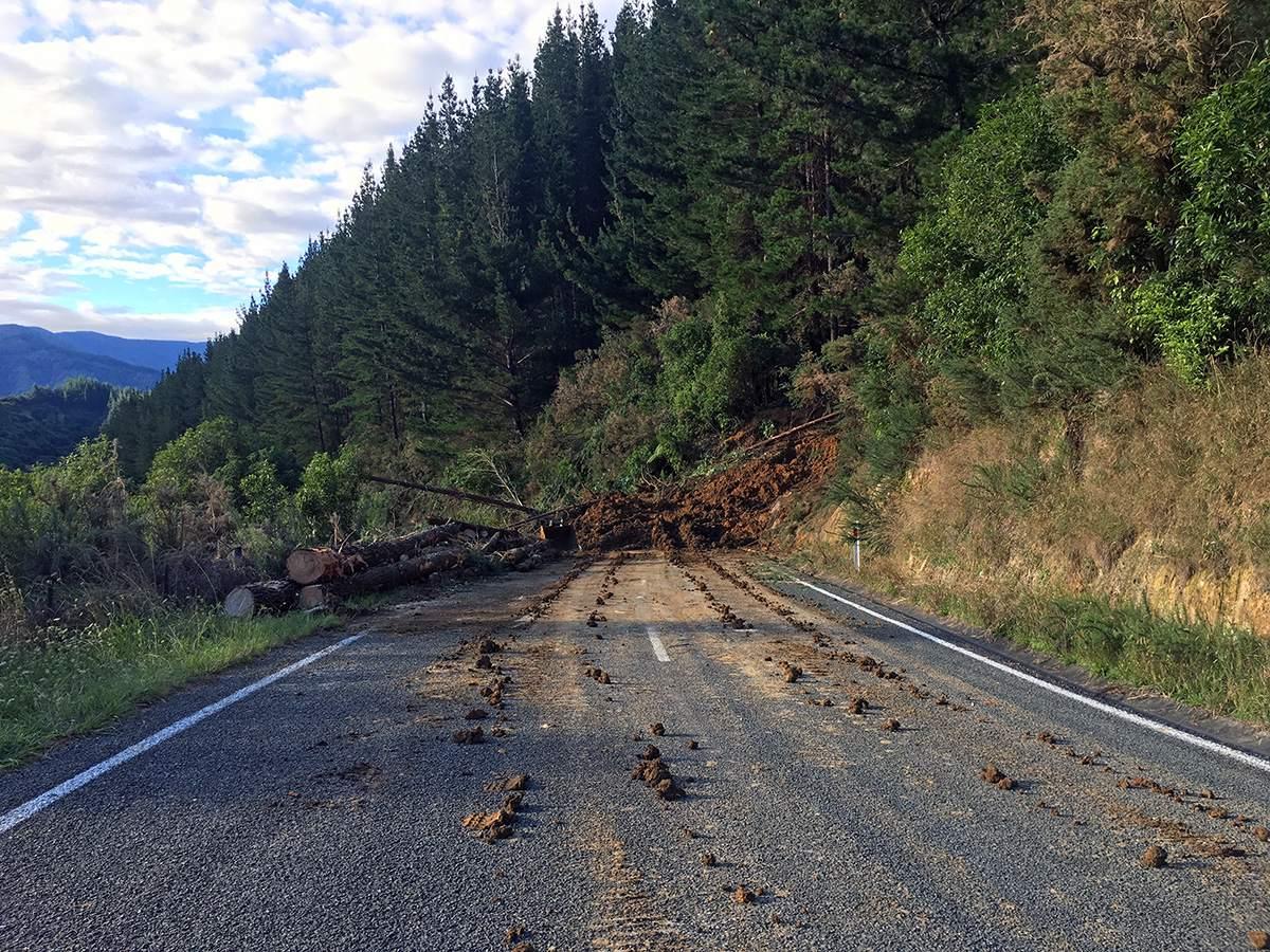 road block near Marahau after massive storms