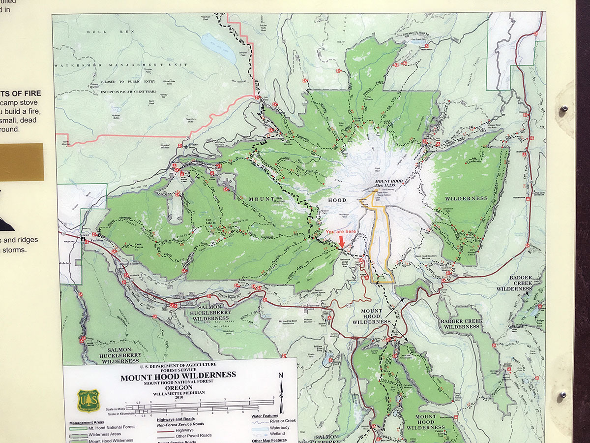 hiking map Mount Hood