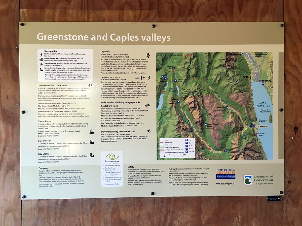 Greenstone Caples Track Map