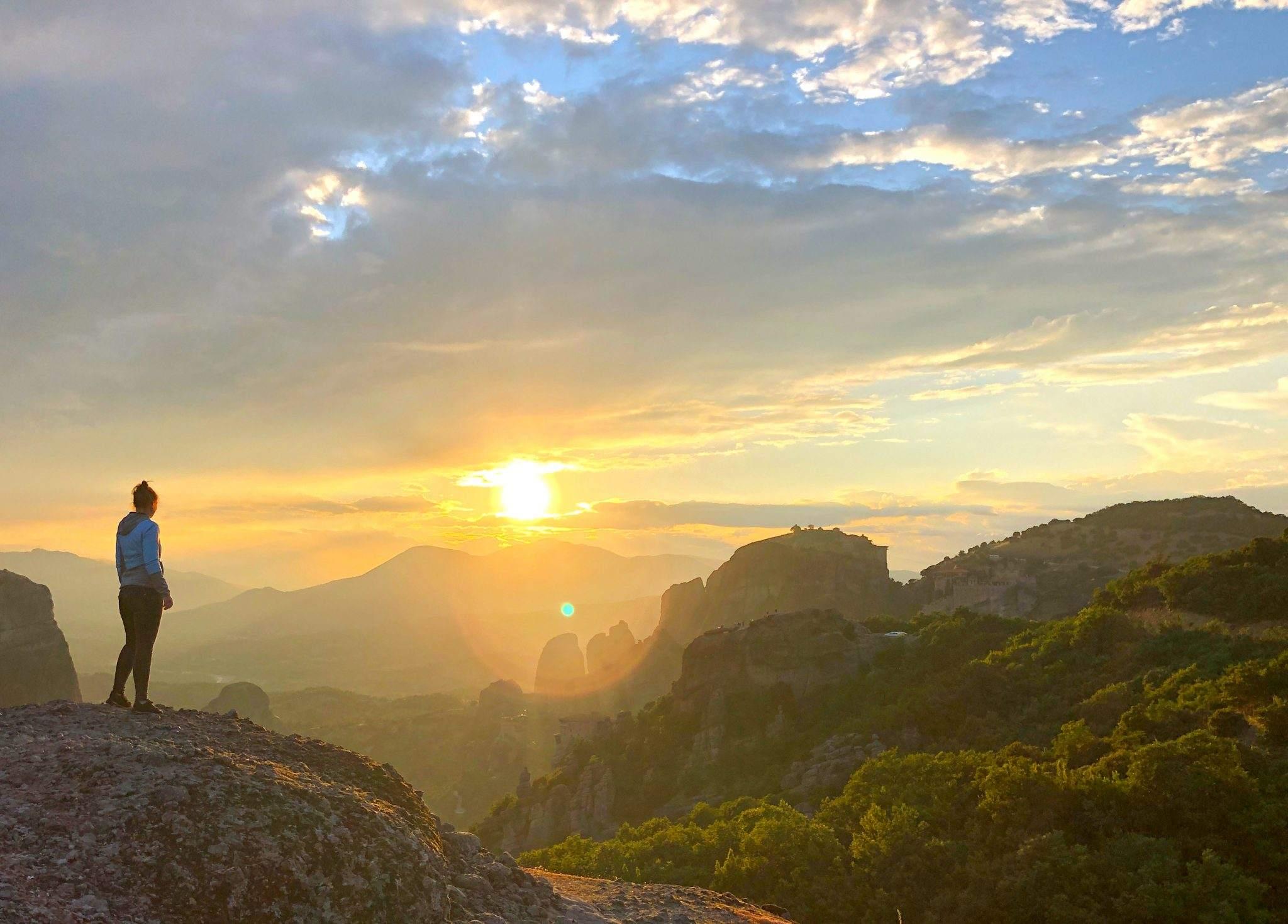 Zonsondergang bij Meteora