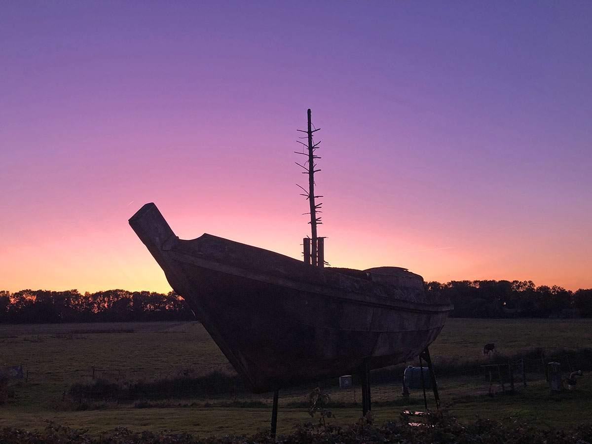 Zonsondergang op Schokland