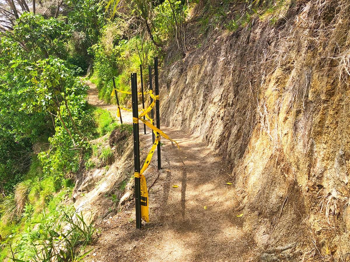 Steep drop offs on the Wainui Falls with kids