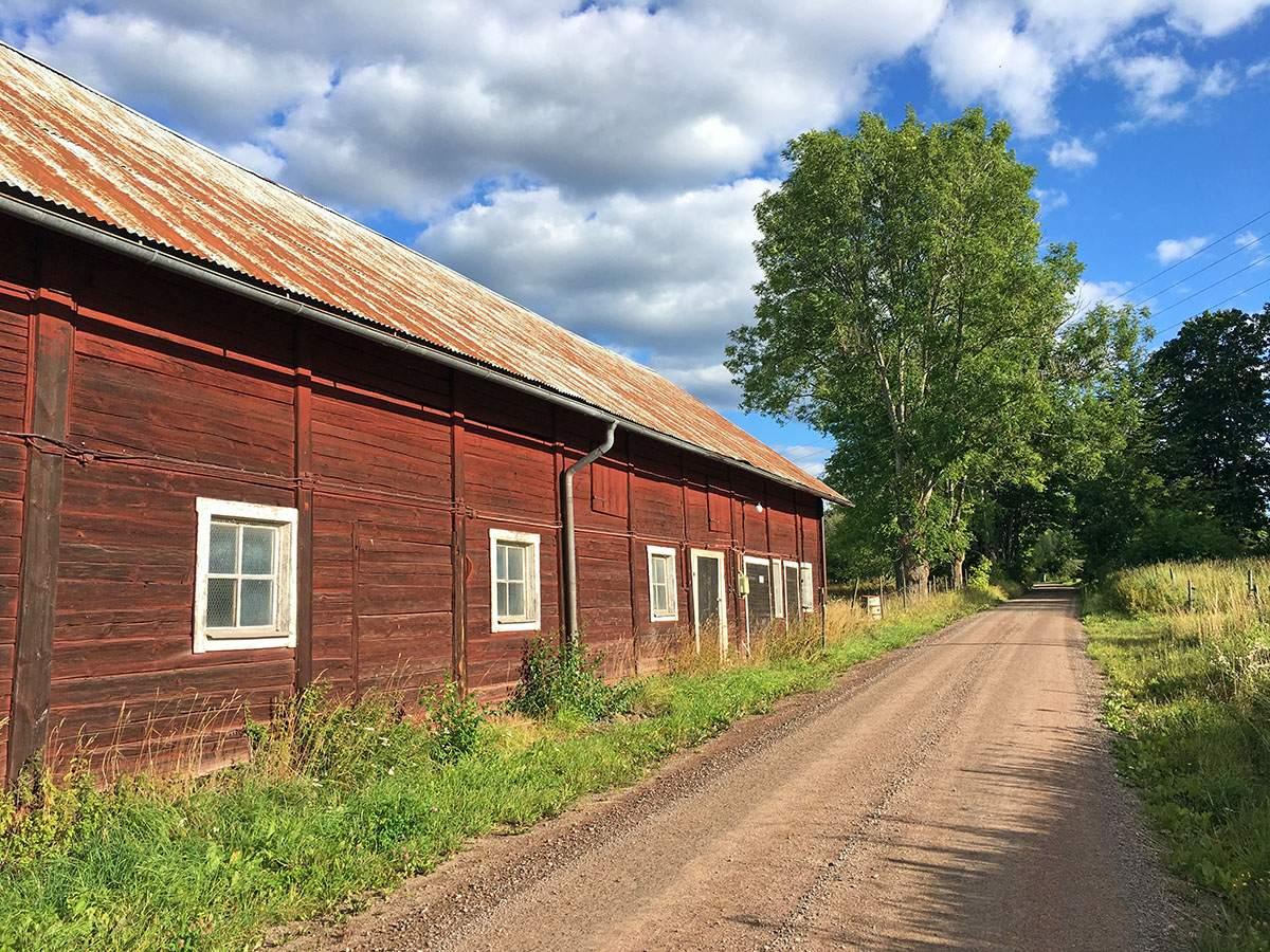 Onverharde weg in Zweden