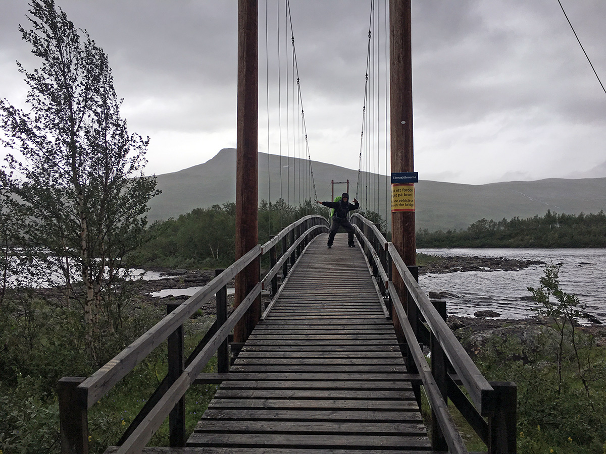 On one of the bridges of the Kungsleden trail