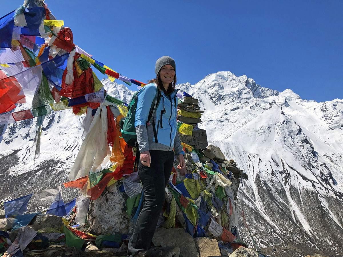Op de top van Kyanjin-Ri in Nepal
