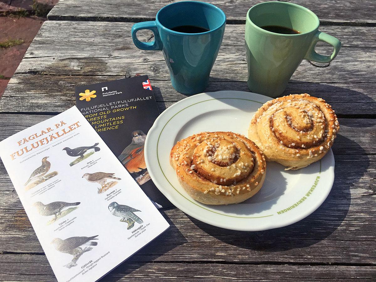 Koffie bij de koffieshop in Fulufjället Nationaal Park