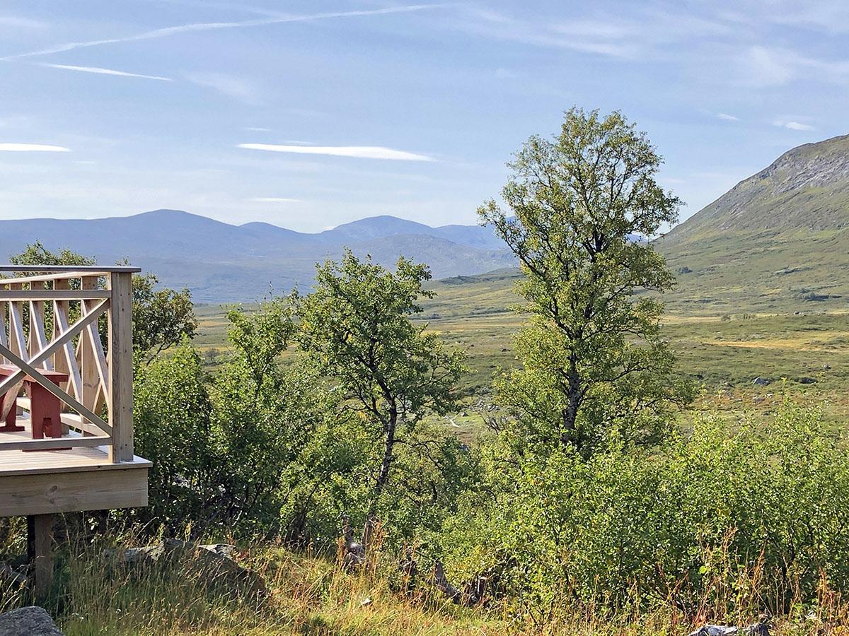 Uitzicht over de Vålåstugorna in Vålådalen