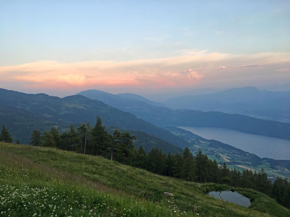 Zonsondergang op de Milstätter Alpe