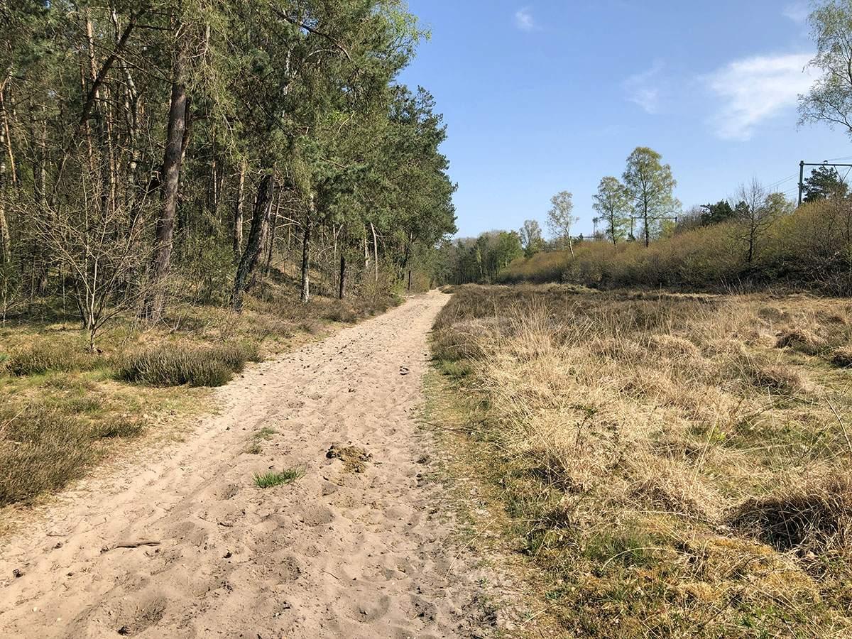 Het mulle zandpad langs het spoor