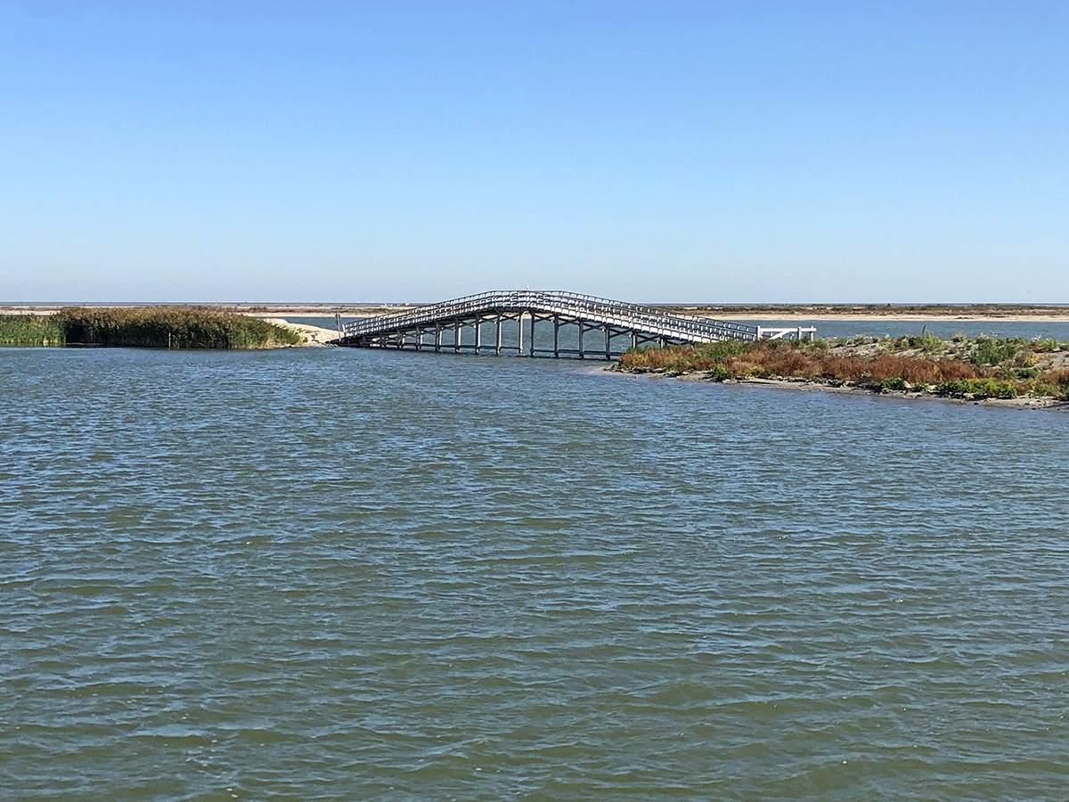 Eén van de bruggen op de Marker Wadden