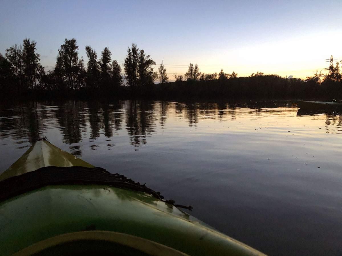 Kayaking during sunset