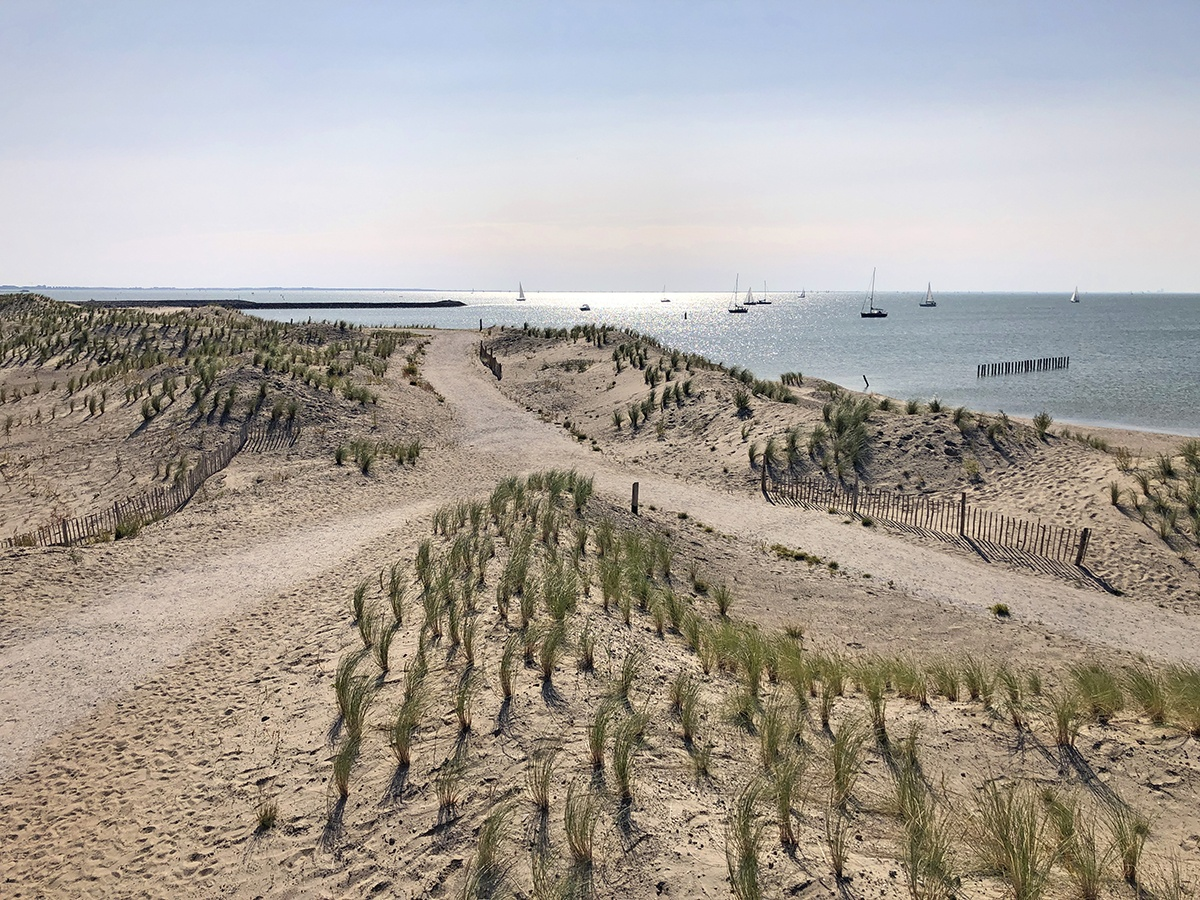 Uitzicht over het strand van de Marker Wadden