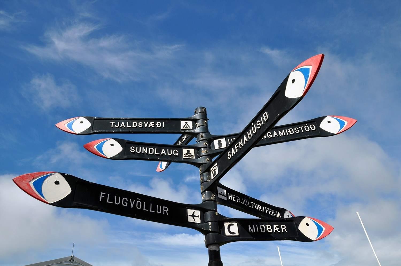 A signpost on Vestmannaeyjar